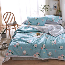 Floral Printed Summer Bedding Sets Cotton Quilt Pillowcase 2/3 PC Single Double Bed Twin Full Queen Size Blue Comforter