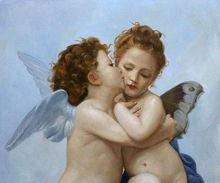 Angel Painting First Kiss William Adolphe Bouguereau oil Painting Canvas Art Reproduction High quality hand painted