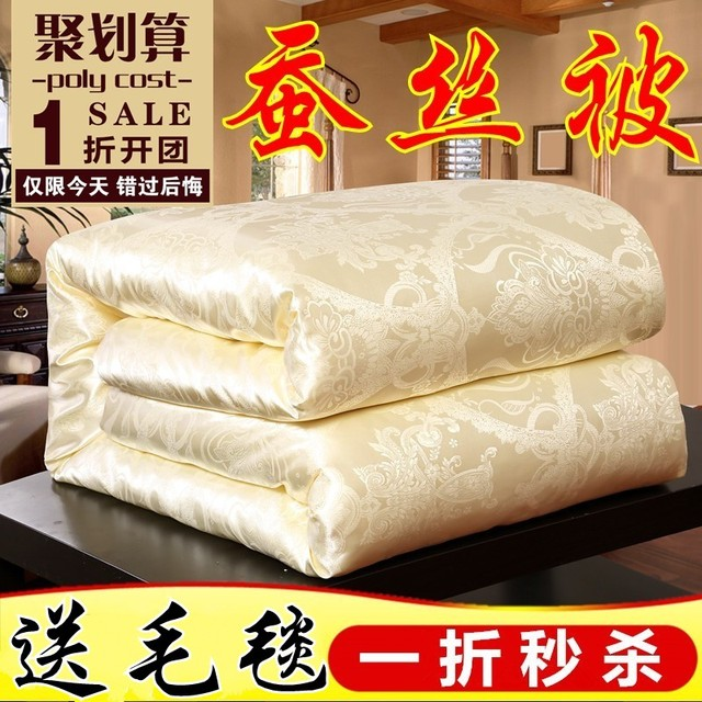 Chinese Mulberry Natural Silk quilt comforter luxurious jacquard duvet cover Bedspread bedding king queen full Spring&Summer