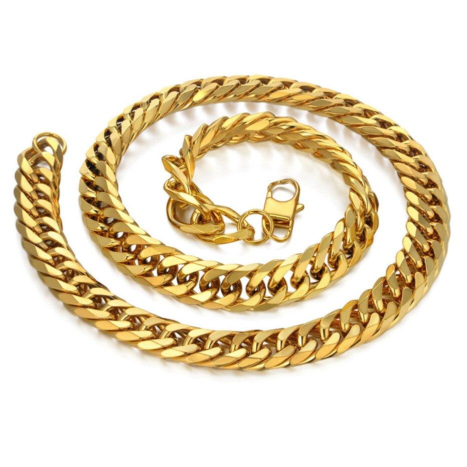 Image 5 - Мужское золотое ожерелье, цепи из нержавеющей стали золотого  цвета, толщина 14 мм, цепь на шею для мужчин, хип хоп украшения, оптовая  продажаЦепочки