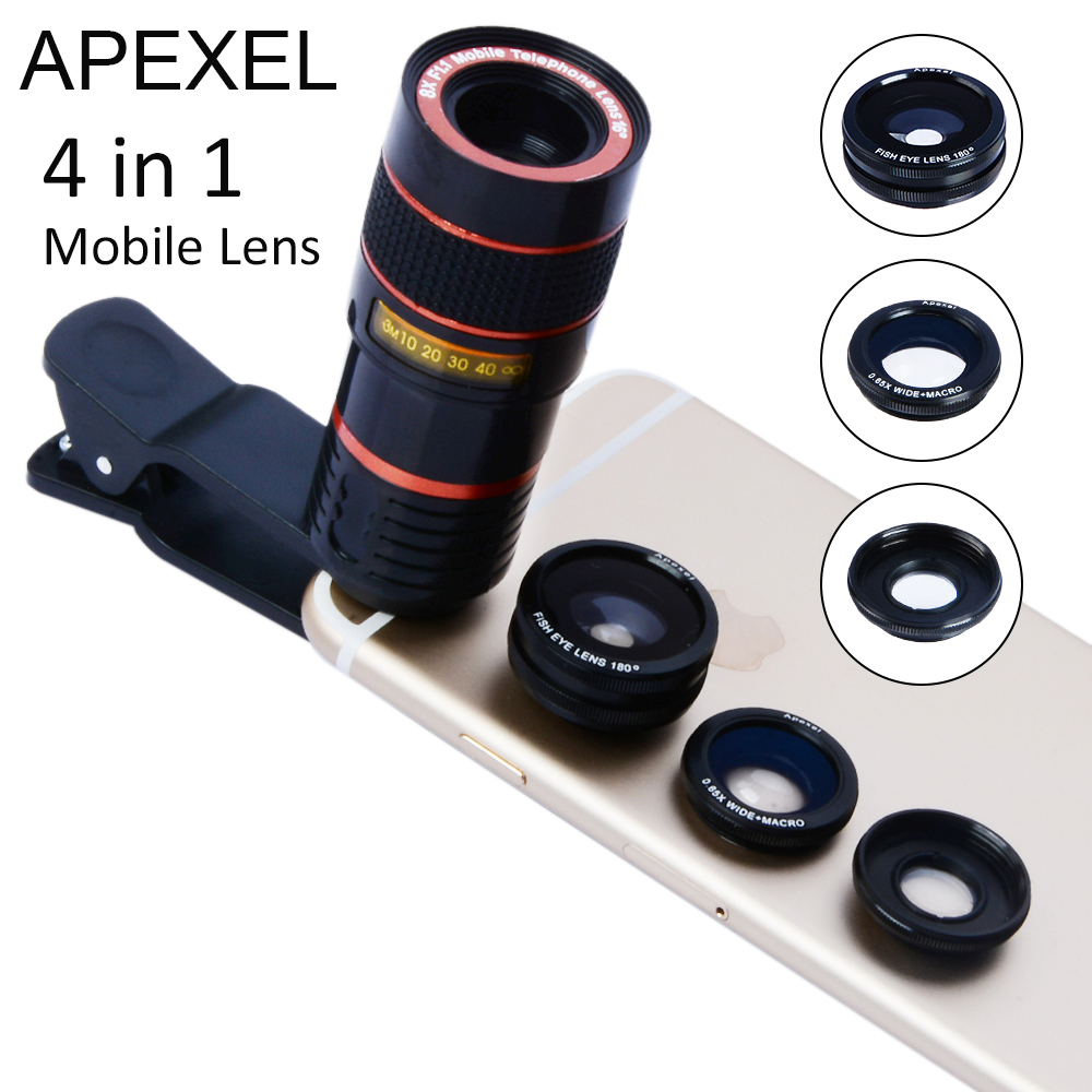 bilder für 4 IN 1 8x tele Zoom Telefon Objektiv Fisheye Makro Kamera objektiv kit mit universal-clip für iPhone 6 6 S Samsung Note 5 19CX3