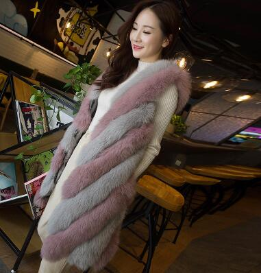 Top quality Twisted color office lady real fox fur vest gilet , New collections milan 2017 natural fox fur waistcoat