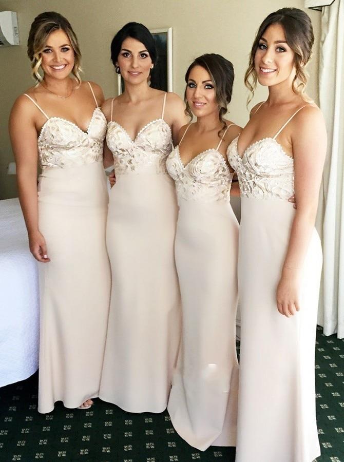 Fashion Spaghetti Strap Bridesmaid Dress Sweetheart Neckline Mermaid Party Prom Dresses For Wedding robe fille d'honneur