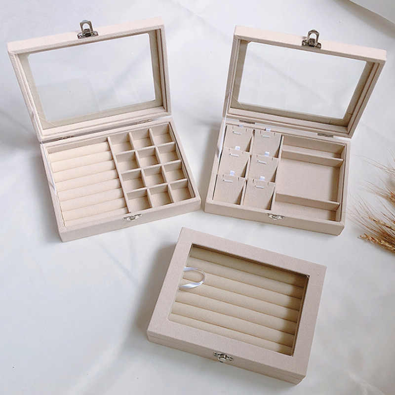 Jewellery Wooden Box Organizers Storage Display Case Ring Necklace Beige
