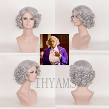 Boo! A Madea Halloween Grey Mix Short Curly Synthetic Cosplay Costume Wigs + Free Wig Cap