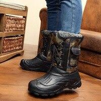2018 Men Snow Boots Winter Shoes Non Slip Platform Waterproof Warm Boots Men Boots Cross Tie Work Shoes Plus Size 41 46 Camo