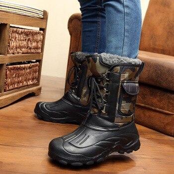 2018 hombres botas de nieve zapatos de invierno antideslizantes de plataforma impermeable botas de hombre botas de trabajo de corbata cruzada más tamaño 41-46 camuflaje