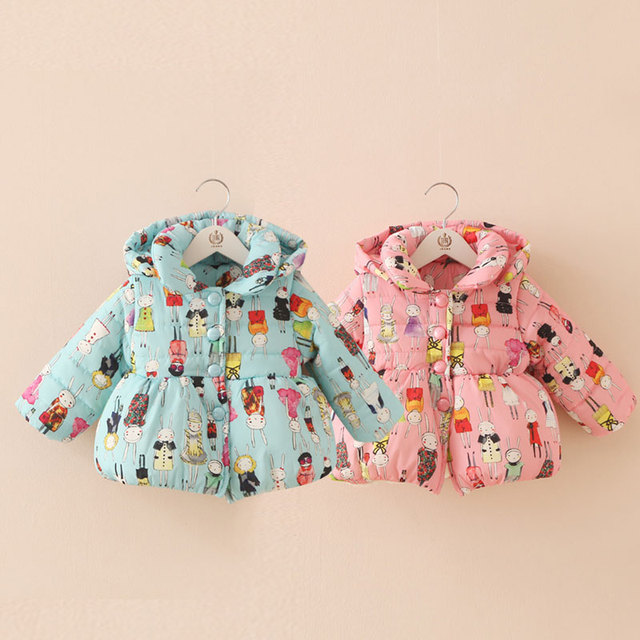 Baby cartoon wadded jacket 2015 winter female child children's clothing child cotton-padded plus velvet outerwear wt-5766