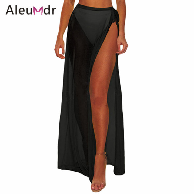 85ae67f916 Aleumdr Summer Women Cover Up Long Sexy Beach Tie-up Skirt Mesh Slit High  Waist Bikini Cover-up LC420052 Vestido Playa Mujer