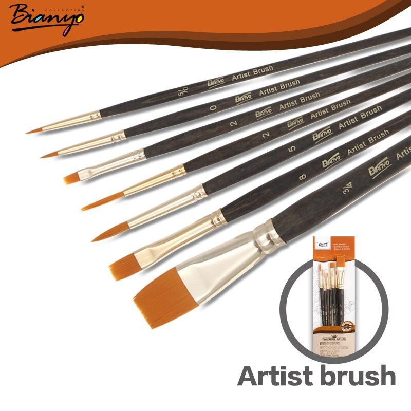 цена на Bianyo 7Pcs Different Shaper Artist Acrylic painting Paint Brushes Nylon Hair Brush Painting Brush Set Art Supplies