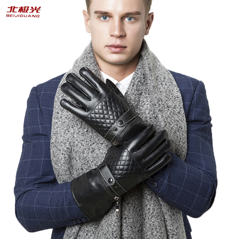 Winter Mens Leather Gloves Black Touch Screen Gloves Button Fashion Sports Riding Driving Long Section Warm Mittens HSBLW-01