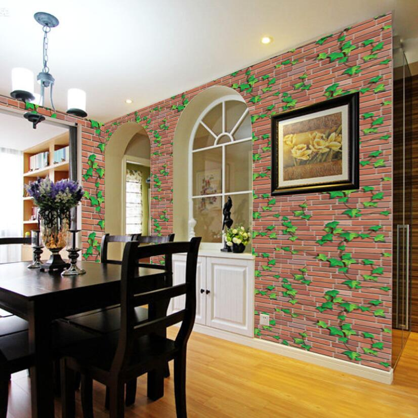Pastoral Red Brick Leaves Wallpaper Self Adhesive Kids Bedroom Decor Wallpapers Living Room Decoration Mural Wall PaperEZ097