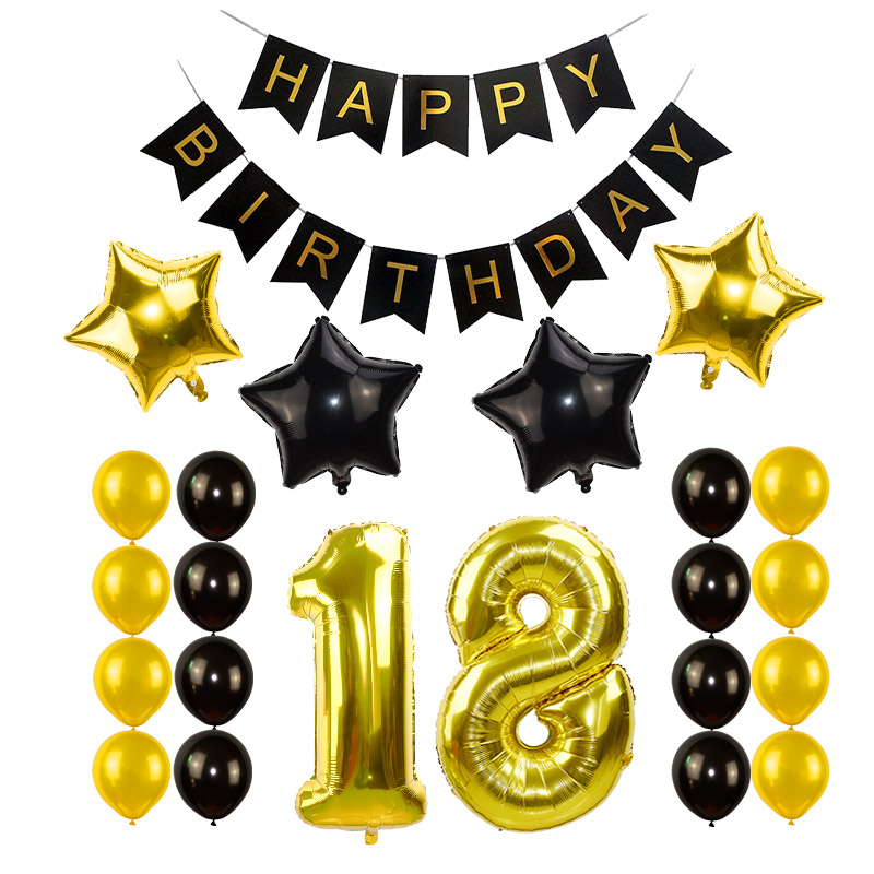 Black Gold Happy Birthday Banner Balloons With Helium Number Foil Balloon for Baby Party Decorations 6