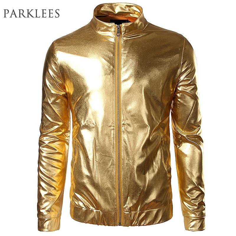 מועדון לילה מגמה מתכתי זהב מעיל גברים - בגדי גברים