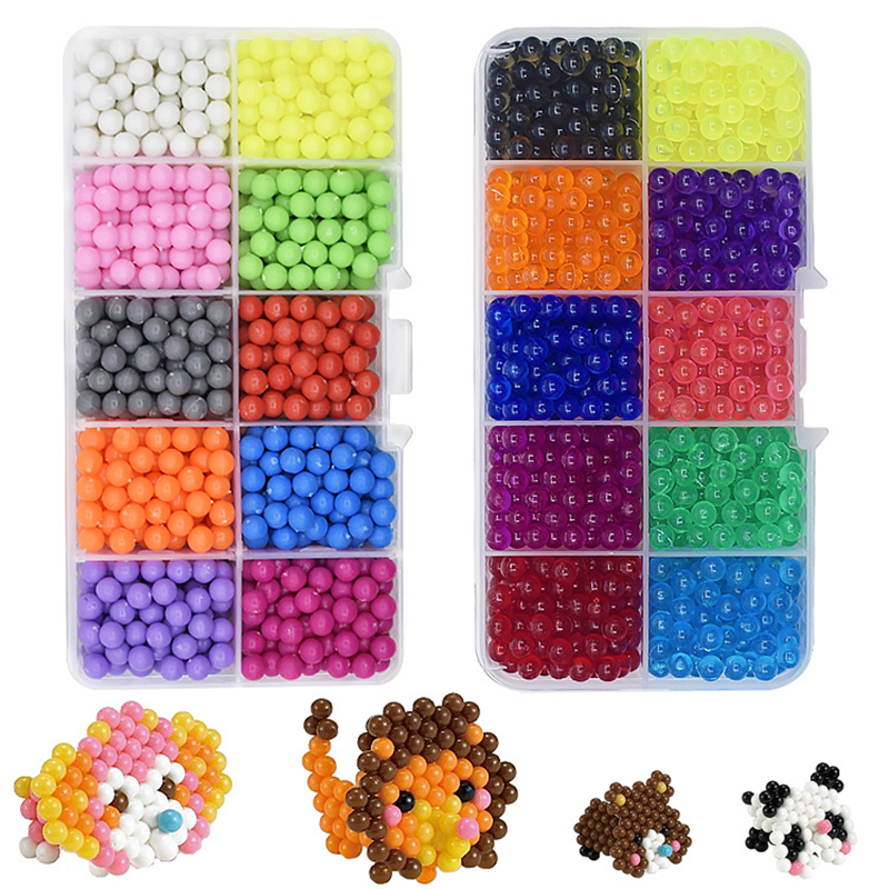 1100 Pcs 10 Colors DIY Water Spray Magic Hand Making 3D Perler Beads Puzzle Educational Toys For Children Kit Ball