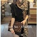 Envío gratis tamaño grande 160 X 70 CM seda de la gasa moda Leopard mujeres bufandas del mantón de Pashmina señora wraps 3 colores