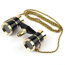 Black 3x25 Glasses Coated Binocular Telescope Theater/Opera glass /lady glass with Gold Trim & Necklace Chain(China)