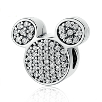 Authentic 925 Sterling Silver Bead Charm Pave Mickey With Crystal Clip Stopper Beads Fit Pandora Bracelet