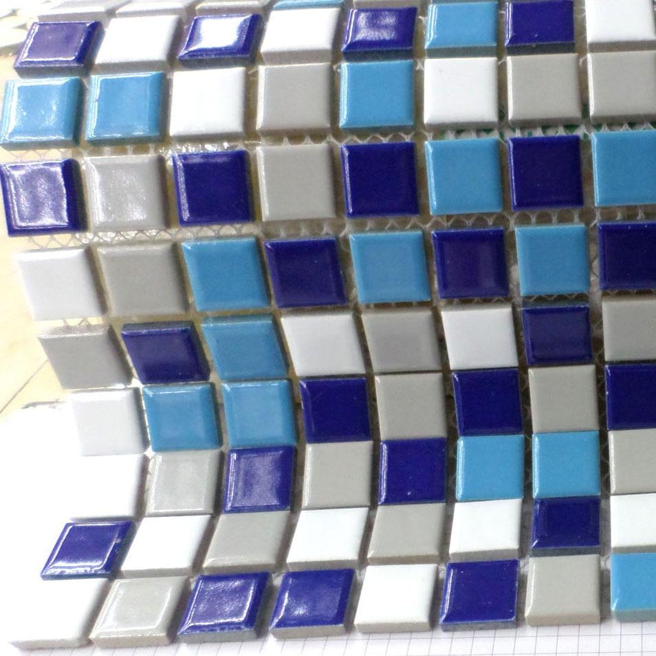 Ao Tingte White Blue Gray Ceramic Mosaic Porcelain Tile