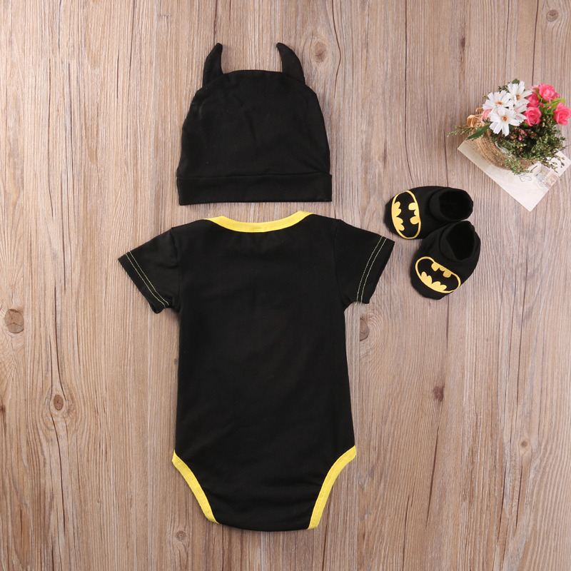 Summer Autumn Cute Batman Cotton Boys Rompers Printed Batman Baby Boys Clothes Rompers with Shoes Hat Black 0-24 Months 4