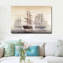 Sea Sailboat Retro Landscape Painting Canvas Art Print Poster Classic Picture Paintings Home Bedroom Wall Decor