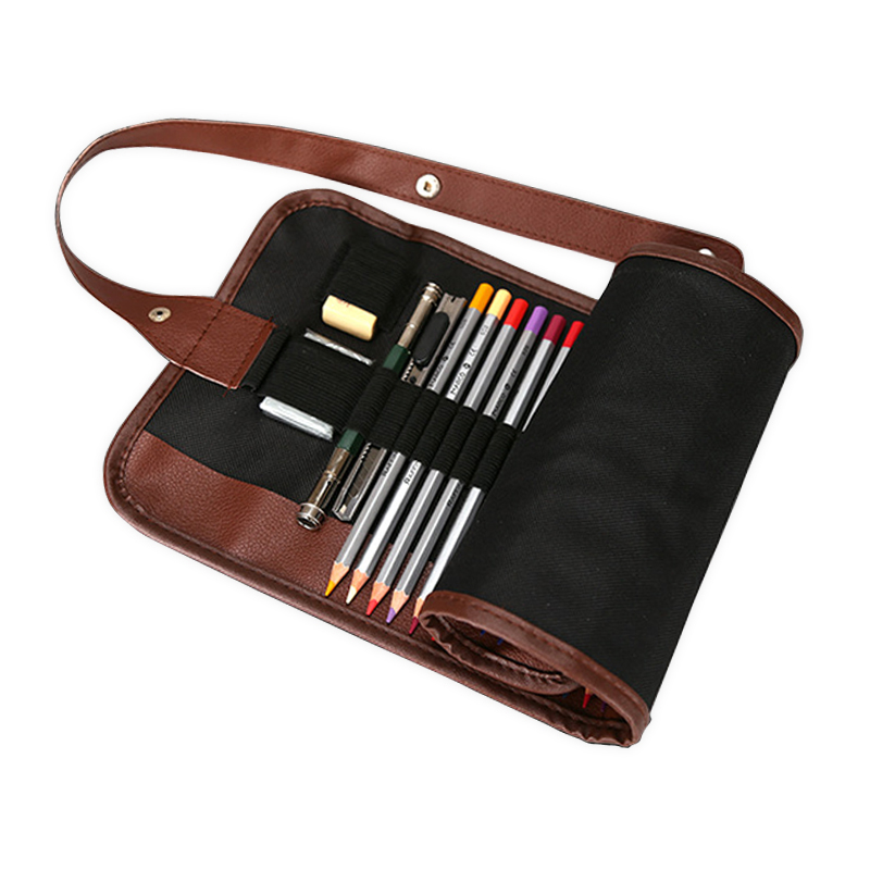 Canvas Leather Sketch Roll up pencil case Brush Pen Box Comestic Storage Bag Pouch Organizer For 36/48/72 Holes цена
