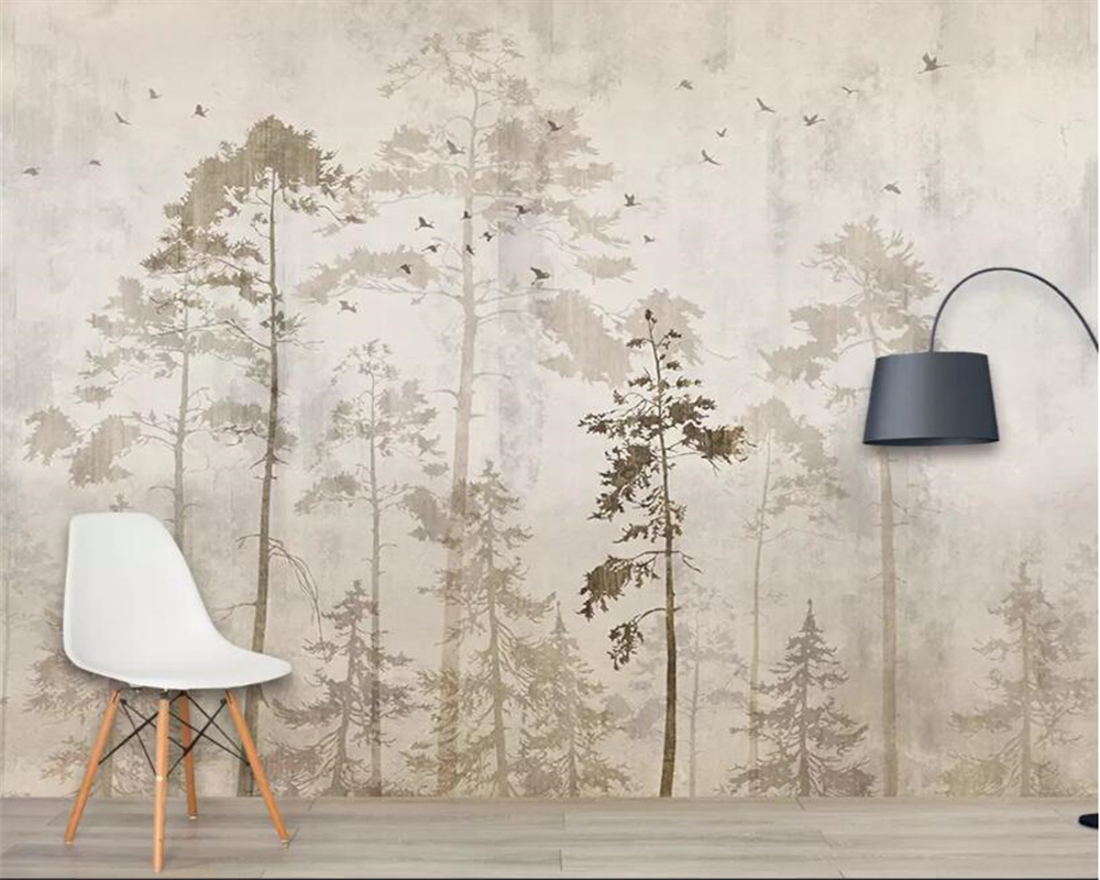Beibehang Custom Wall Wallpaper European Retro Hand-painted Forest Big Tree Birds Mural Wallpaper 3D Carta Da Parati Wallpaper