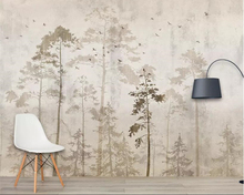 Beibehang Custom wall wallpaper European retro hand-painted forest Big tree Birds mural 3D carta da parati