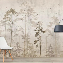 Mural Wallpaper Forest Custom Beibehang Retro Parati 3D Da Tree Birds Carta Hand-Painted