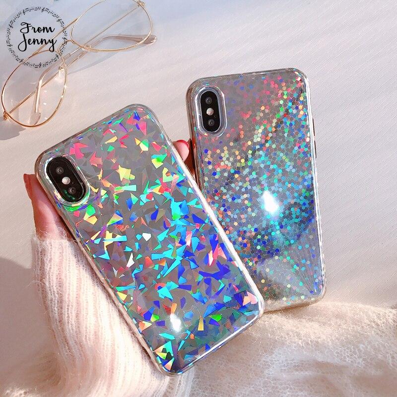 De Jenny Chaude Mode Laser Mobile Téléphone Cas Pour iPhone X 6 6 s 7 8 Plus 8 plus 4.7 pouces 5.5 + Tpu de Couverture Arrière de Shell Fundas