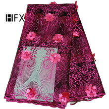 HFX African lace fabric 2019 high quality wine red 3d Embroidered Tulle Lace Fabric Nigerian Beaded Laces  For Wedding
