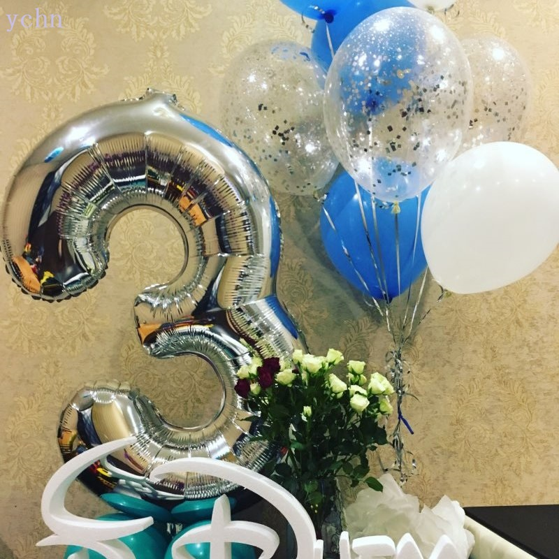 16 32 40inch Number Balloons Wedding Birthday Party Christmas New Year Decoration Number Foil Balloons Digital Golden Silver 0 9 in Ballons Accessories from Home Garden