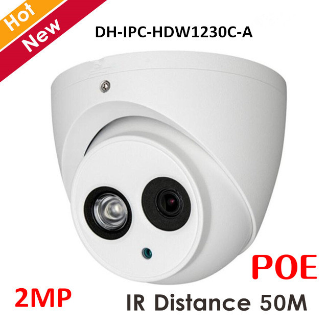 DH 2mp POE IP Camera IPC-HDW1230C-A IR-CUT IR distance 50m H.265 Indoor Outdoor Security Camera for IP SystemDH 2mp POE IP Camera IPC-HDW1230C-A IR-CUT IR distance 50m H.265 Indoor Outdoor Security Camera for IP System