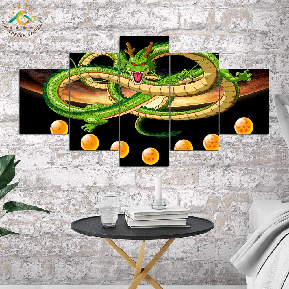 Anime Dragon Ball Modern Canvas Art Prints Poster Wall Painting Home Decoration Artwork Wall Art Pictures for Bedroom 5 PIECES in Painting Calligraphy from Home Garden