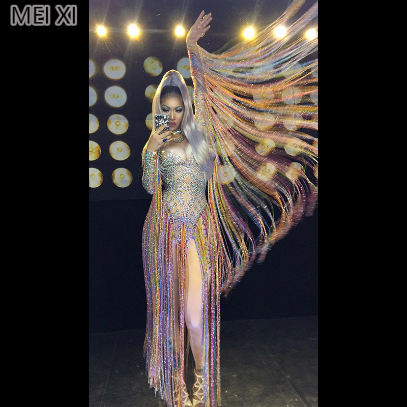 Glittering Multicolored Rhinestone Fringed Onesie Nightclub Bar Concert DJ Singer/dancer Costume