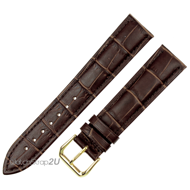 Black / Brown Crocodile Grain Leather Watch Band Strap Gold Pin Buckle 12mm, 14m