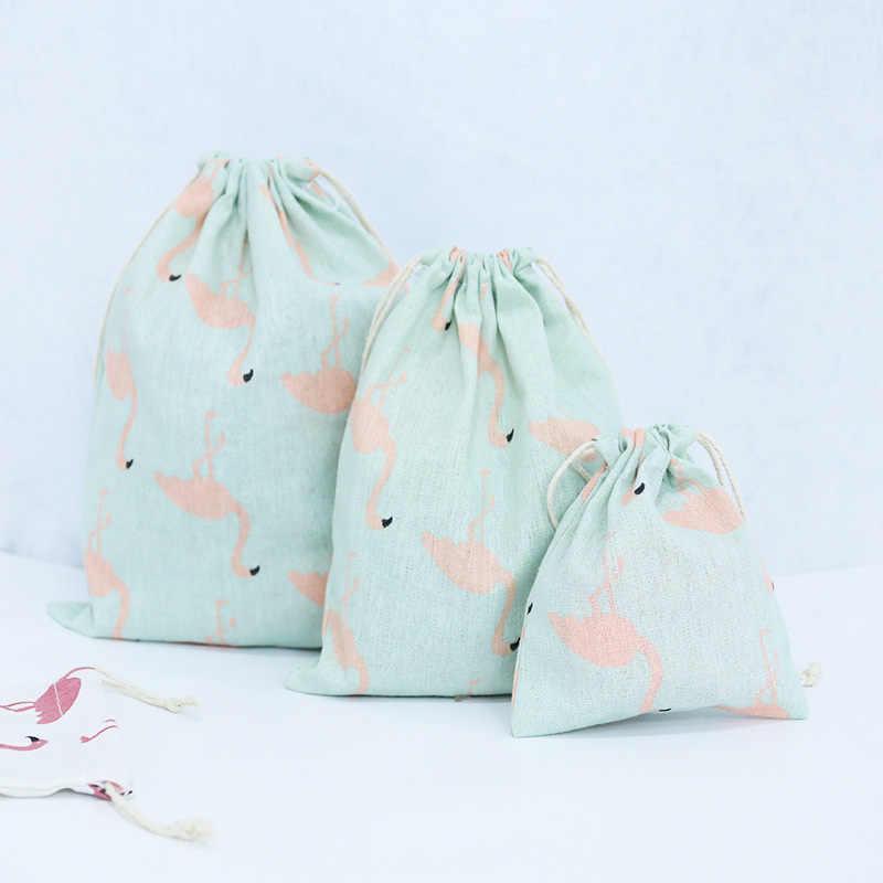 Flamingo Impressão 3 tamanho Bonito Desenhos Animados Algodão Drawstrping Protable Saco Para Saco de Armazenamento De Roupas de Armazenamento Bolsa de Viagem Bolsa