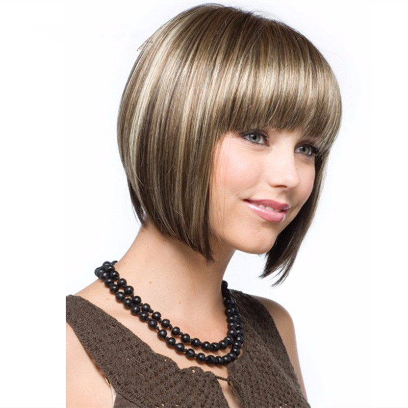 Synthetic Bob Wig Brown Mixed Color Fashion Hairstyle Heat Resistant Fiber Womens Short  ...