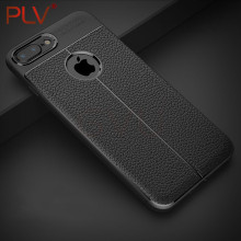 PLV Luxury Shockproof Matte Cover For iPhone X 6 7 8 Plus Case Leather Carbon Fiber Fundas For iPhone 5 6 6S 7 8 Case Leather