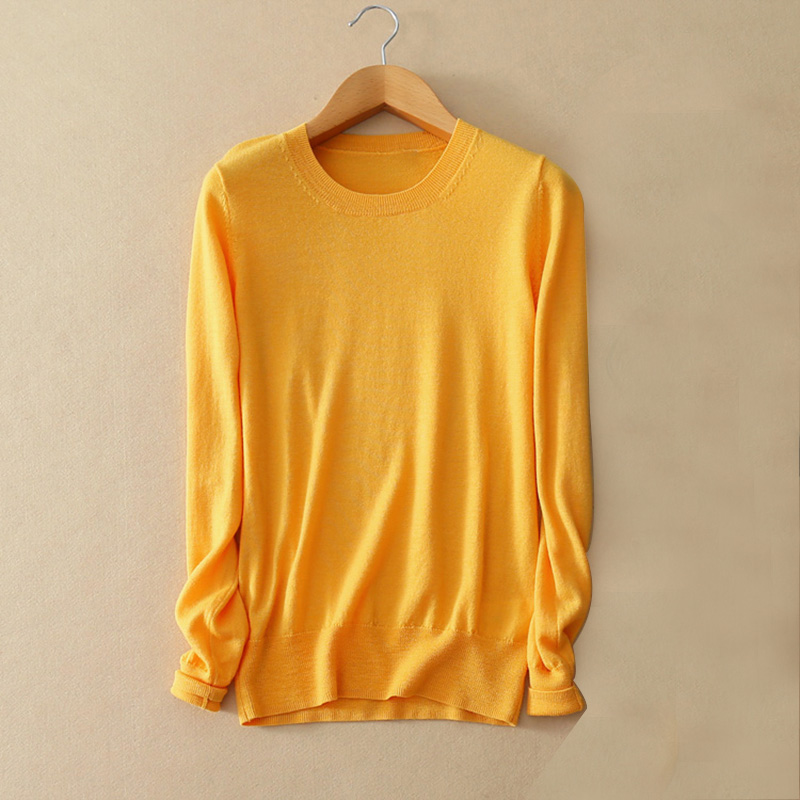 Loose Women Pullover Sweater 100 Wool O Neck Long Sleeves Spring Autumn Street Outerwear Yellow Sweater