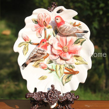 red lucky birds flowers decorative wall dishes porcelain plates vintage home decro crafts room decoration figurine