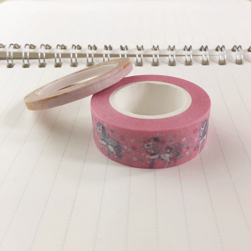 Unicorn on Pink Washi Tape Paper 10m Kawaii Scrapbooking Tools Japanese Stationery Adesiva Decorativa Tapes School Office Supply