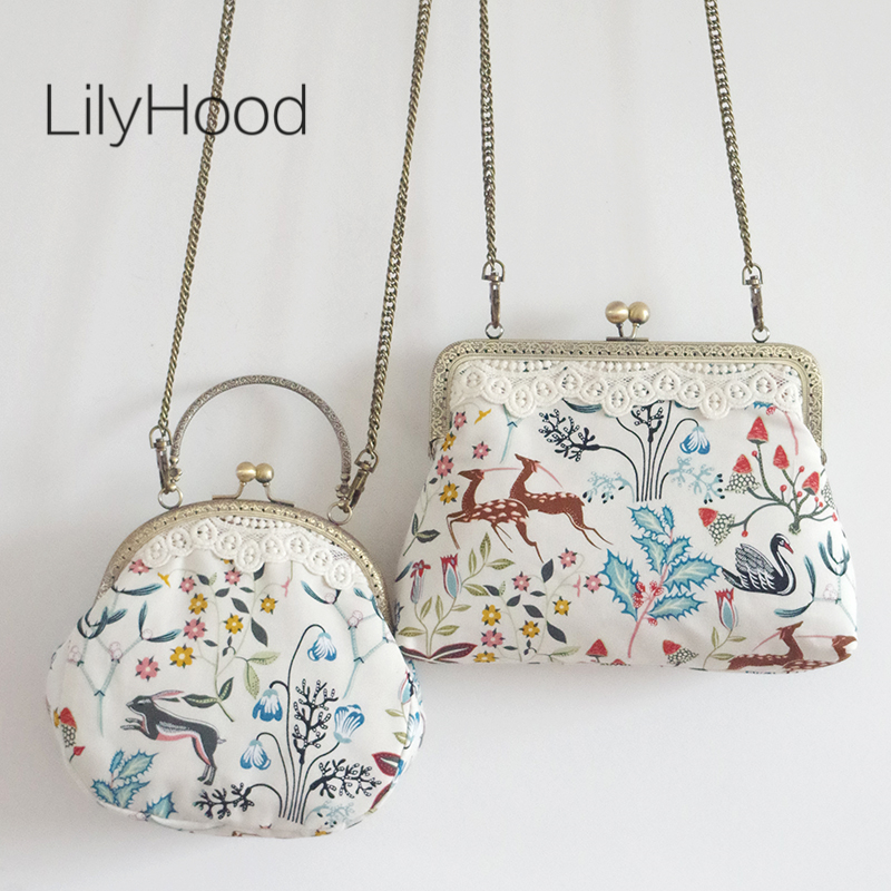 LilyHood Handmade Women Cartoon Printing Small Shoulder Bag Female Lace Vintage Cute Chic Fabric Cell Phone Chain Crossbody Bag 2017 women handmade patchwork wool pu leather shoulder bag vintage retro cute china red small cell phone funky crossbody bag