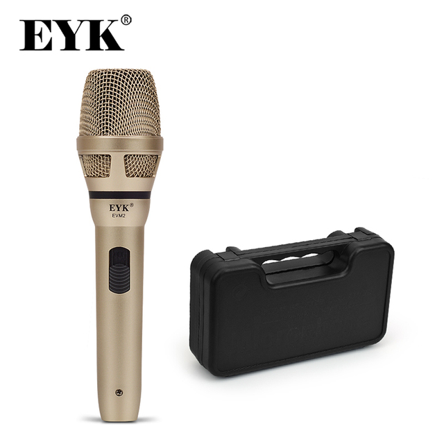 EYK EVM2/EVM2H Dynamic Wire Microphone with Plastic Case !! Recording Broadcasting DJ Karaoke Party Meeting Church Wire Mic