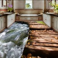 Premium Floor Bathroom Toilet Bedroom Bedroom River Wooden Bridge 3D Floor Papel De Parede Wallpaper For