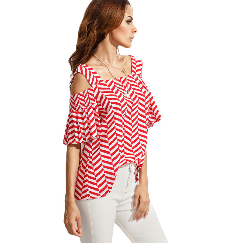 2156b23694 ROMWE Casual Womens Tops and Blouses For Summer Ladies Short Sleeve ...