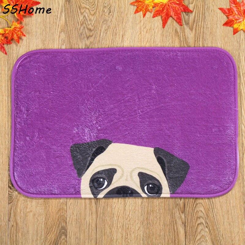 Coral Velvet Bathroom Carpet Mats Anti-slip Rug Shower 40x60cm Purple Dog Bath Kitchen Doormat for Hallway Home Decoration