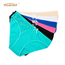 YOUREGINA Women Underwear Sexy Briefs Woman Panties Transparent Lace Seamless Plus Size Cotton 6 pcs/lot
