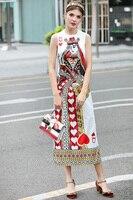 Catwalk New High Quality Runway Designer 2018 Spring Summer Fashion Women'S Party Vintage Printing Sleeveless Vest Long Dress 4