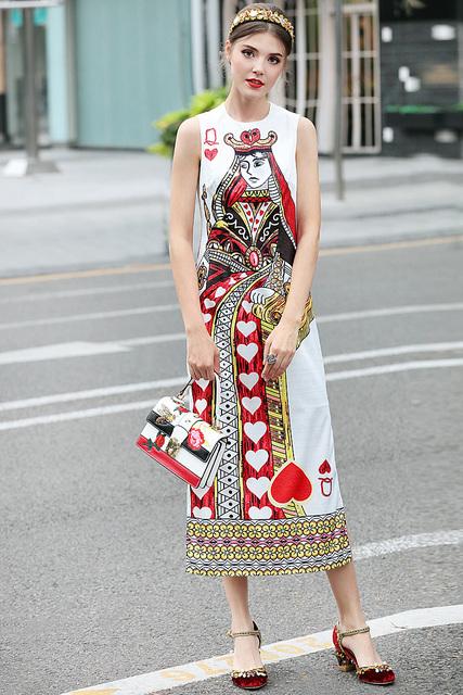 Poker Printing Sleeveless Vest Long Dress